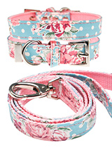 Vintage Rose Floral  Fabric Collar & Lead Set - Our Vintage Rose Floral pattern collar & lead set will brighten up even the dullest of days. It is a contemporary style and the floral pattern is right on trend. It is lightweight and incredibly strong. The collar has been finished with chrome detailing including the eyelets and tip of the collar. A...