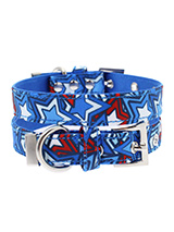 Hero Star Fabric Collar - Our Hero Star Collar is a tribute to all the Superheros rolled into one not to mention your own little Superhero! It is lightweight and incredibly strong. The collar has been finished with chrome detailing including the eyelets and tip of the collar. A matching lead, harness and bandana are availabl...