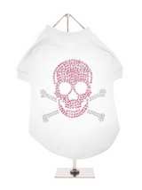 Skull & Crossbones GlamourGlitz Dog T-Shirt - Exclusive GlamourGlitz 100% Cotton Dog T-Shirt. Embellished with a Skull and Crossbones design and crafted with Pink and Silver Rhinestuds that catch a sparkle in the light. Wear on it's own or match with a GlamourGlitz ''Mommy and Me'' Women's T-Shirt to complete the look.